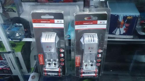 cargador batería recargable doble y triple a con 2 pilas aa