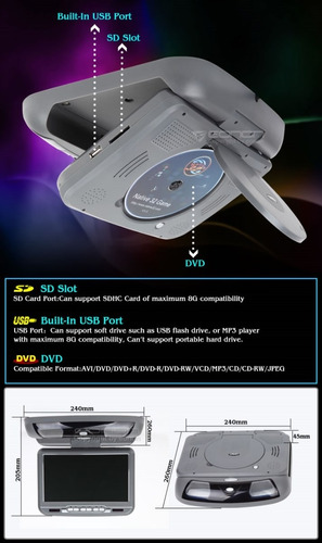 eonon reproductor dvd multimedia flip down 9 pulg. - gris