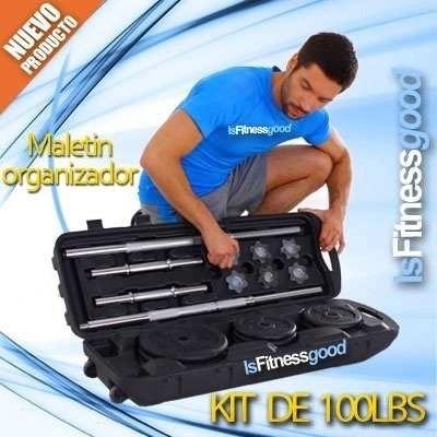 kit de mancuernas de 100lb pesas discos tuercas de seguridad