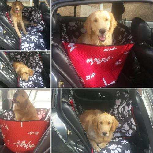 protector de silla automovil para perros - huellas-